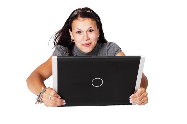 žena, notebook