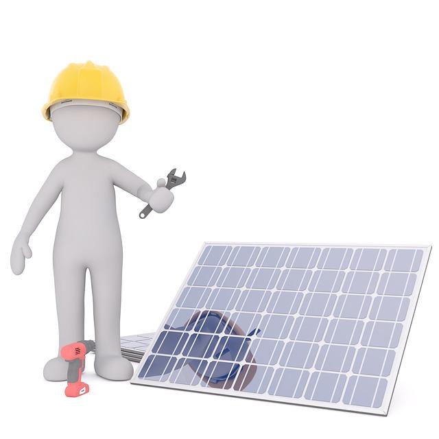 stavitel a solární panel kreslený